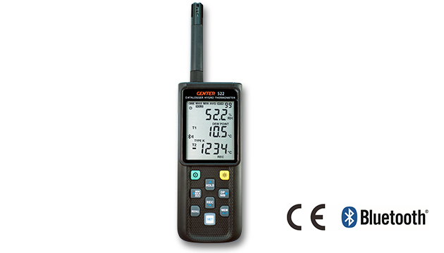CENTER 522_ Wireless Datalogger Hygro Thermometer (K/J/E/T/N/R/S Type, Bluetooth) 1